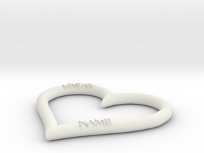 HEART NAME in White Natural Versatile Plastic