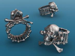 Skull ring in Polished Bronzed Silver Steel
