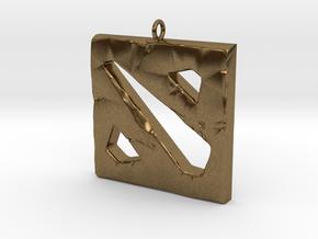 DOTA 2 Polygonal Logo Pendant Keychain Necklace in Natural Bronze