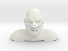 3D Ogre Bust in White Natural Versatile Plastic