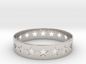 Stars Around (5 points, cut through, thin) - Ring in Rhodium Plated Brass: 6 / 51.5