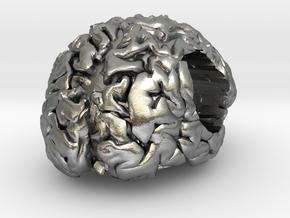 Brain European Charm Bracelet Bead in Natural Silver