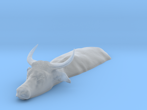 Domestic Asian Water Buffalo 1:9 Lying in Water 2 in Smooth Fine Detail Plastic
