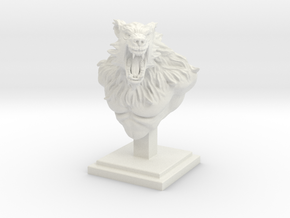 "4"" Tall Werewolf Creature Bust in White Natural Versatile Plastic"