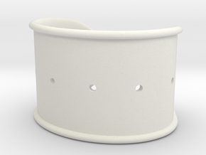 Cosplay Cuff Base (with holes for screw-back spike in White Natural Versatile Plastic: Small