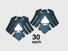 60x Raven Ace : Shoulder Insignia pack in Smooth Fine Detail Plastic