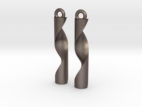 Double Helix Pendants in Polished Bronzed Silver Steel