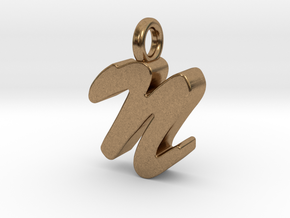 N - Pendant 3mm thk. in Natural Brass