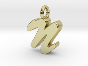 N - Pendant 3mm thk. in 18k Gold Plated