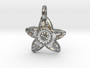 Starfish Charm Pendant in Natural Silver