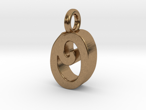O - Pendant 3mm thk. in Natural Brass