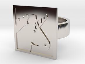 Unicorn Ring in Rhodium Plated Brass: 8 / 56.75