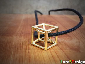 The Hypercube in Polished Bronzed Silver Steel