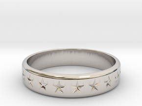 Stars Around (5 points, engraved, thick) - Ring in Rhodium Plated Brass: 6 / 51.5