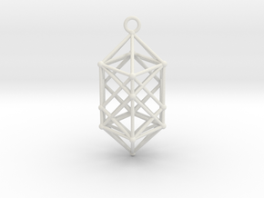 Hyperdiamond projection of 24 cell Octoplex 60mm in White Natural Versatile Plastic