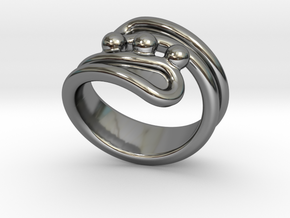 Threebubblesring 28 - Italian Size 28 in Fine Detail Polished Silver