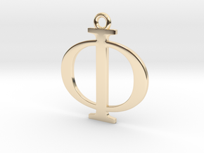 Phi Golden Ratio Pendant in 14k Gold Plated Brass