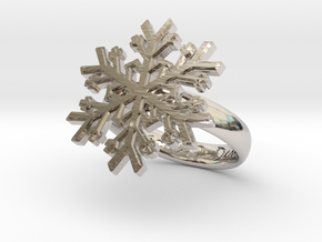 Snowflake Ring 1 d=16mm h35d16 in Rhodium Plated Brass