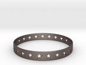 Stars Around (5 points, cut through) - Bracelet in Polished Bronzed Silver Steel: Small