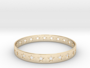 Stars Around (5 points, cut through) - Bracelet in 14k Gold Plated Brass: Small