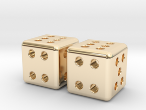 Tiny Metal Dice Set - Micro D6 in 14k Gold Plated Brass
