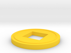 Japanese Coin Game Piece in Yellow Processed Versatile Plastic