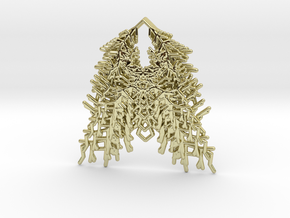 Parametric Necklace / Pendant / Brooch v.3 in 18k Gold Plated Brass