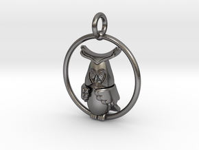 Owl pendant  in Polished Nickel Steel