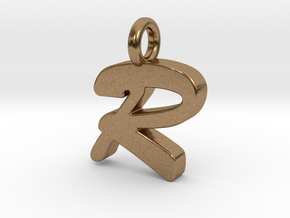 R - Pendant 2mm thk. in Natural Brass