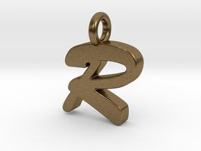 R - Pendant 2mm thk. in Natural Bronze