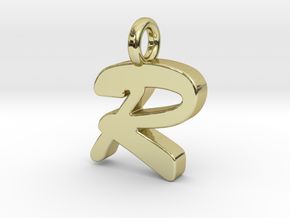 R - Pendant 2mm thk. in 18k Gold Plated Brass
