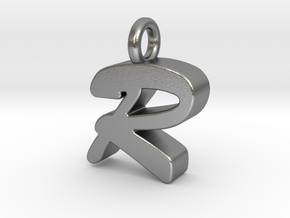 R - Pendant 3mm thk. in Natural Silver