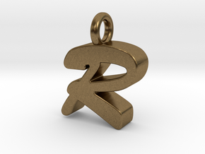 R - Pendant 3mm thk. in Natural Bronze