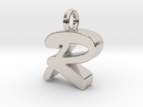 R - Pendant 3mm thk. in Rhodium Plated Brass