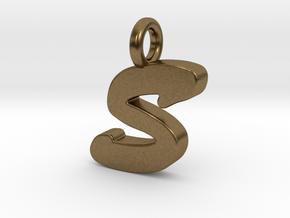 S - Pendant 2mm thk. in Natural Bronze