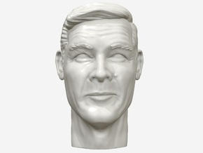 Roger Moore portrait head in White Natural Versatile Plastic