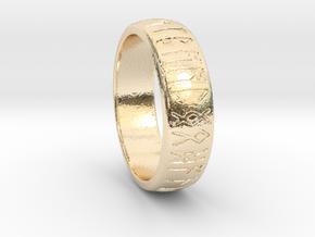 Saxon Rune Poem Ring  in 14k Gold Plated Brass: 1.5 / 40.5