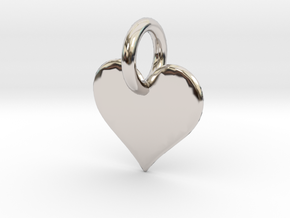 little heart in Rhodium Plated Brass
