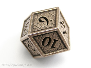 Hedron D12 (Hollow), balanced gaming die in Polished Bronzed Silver Steel
