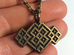 M and W Pendant in Polished Bronze Steel