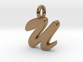 U - Pendant 2mm thk. in Natural Brass
