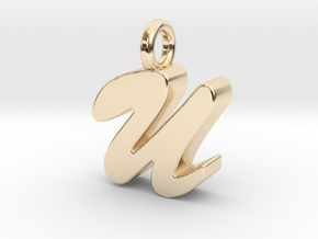 U - Pendant 3mm thk. in 14K Yellow Gold
