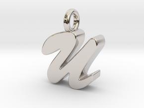U - Pendant 3mm thk. in Rhodium Plated Brass