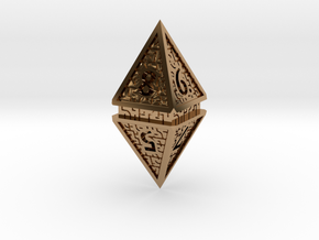 Hedron D8 (Hollow), balanced gaming die in Polished Brass