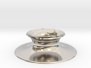 "The Universe Sphere Base ""Round"" in Rhodium Plated Brass"