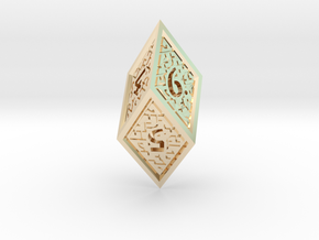 Hedron D6 (Hollow), balanced gaming die in 14k Gold Plated Brass