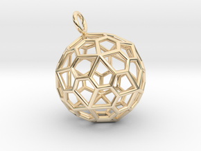 Pendant_Pentagonal-Hexecontahedron in 14k Gold Plated Brass