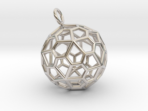Pendant_Pentagonal-Hexecontahedron in Rhodium Plated Brass