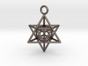 Pendant_Merkaba-Triforce in Polished Bronzed Silver Steel