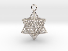 Pendant_Cuboctahedron-Star in Rhodium Plated Brass